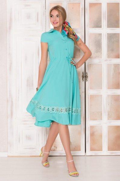 Мятное платье миди с кружевом по юбке