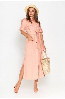 Оранжевое льняное платье-рубашка прямого кроя длинной в пол