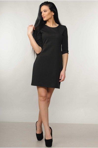 Оригинальное черное платье с треугольным вырезом