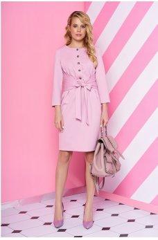 Оригинальное розовое платье с бантом на талии