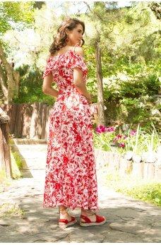 Оригинальный красно-белый сарафан в пол