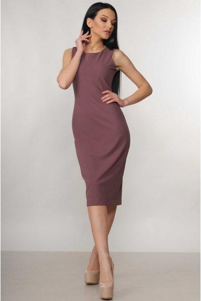 Платье длиной миди баклажанового цвета с разрезом сзади
