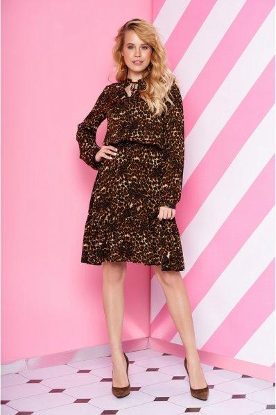 Платье из штапеля с звериным принтом коричневого оттенка