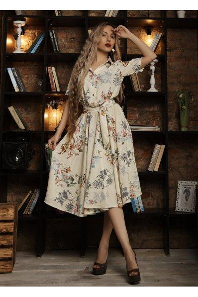 Платье миди бледно-желтого цвета с принтом цветы