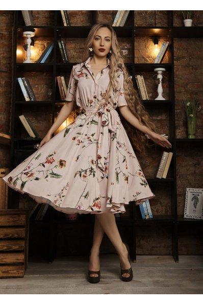 Платье миди пудрового цвета с принтом цветы
