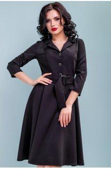 Платье миди с расклешенной юбкой черного цвета