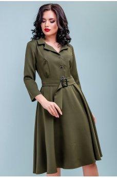 Платье миди с расклешенной юбкой цвета хаки