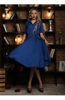 Платье миди синего цвета с пуговичками на груди