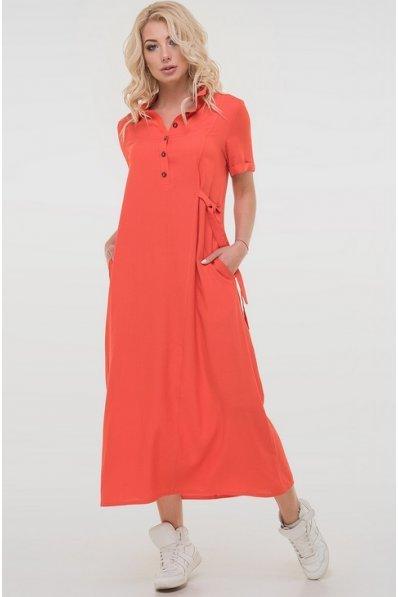 Платье рубашка кораллового цвета