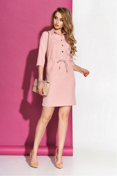 Платье рубашка свободного кроя пудрового цвета