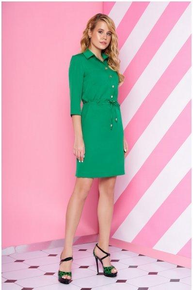 Платье рубашка свободного кроя сочного зеленого цвета