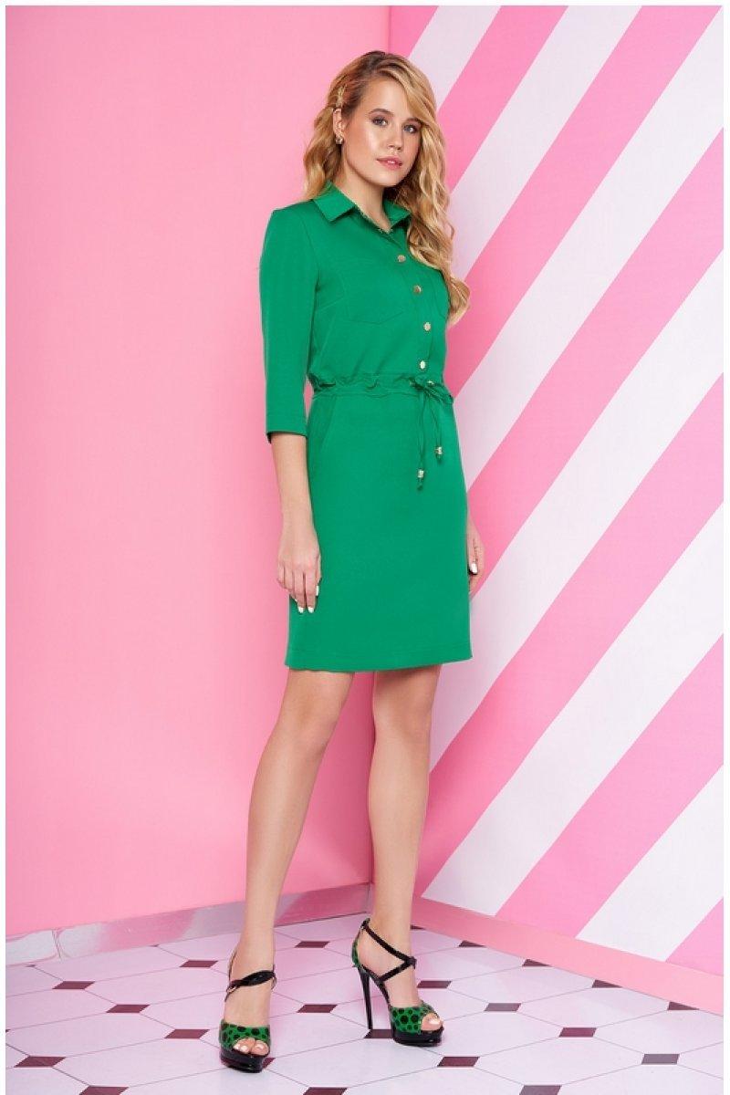 5d40a20f523 Платье рубашка свободного кроя сочного зеленого цвета