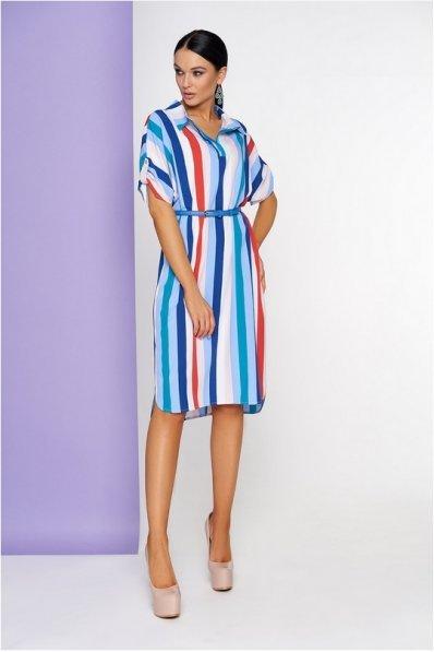 Платье свободного покроя в бело-сине-красную полоску