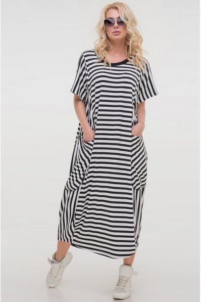 Платье свободного покроя в черно-белую полоску