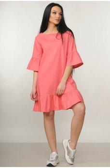 Весеннее платье трапеция кораллового цвета