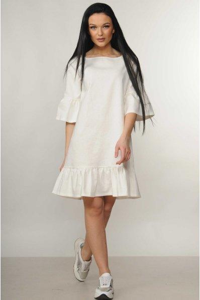 Платье трапеция молочного цвета