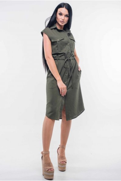 Платье в стиле «сафари» цвета хаки с классическим воротником