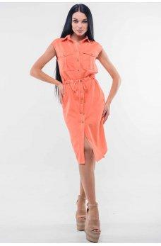 Платье в стиле «сафари» персикового оттенка с классическим воротником