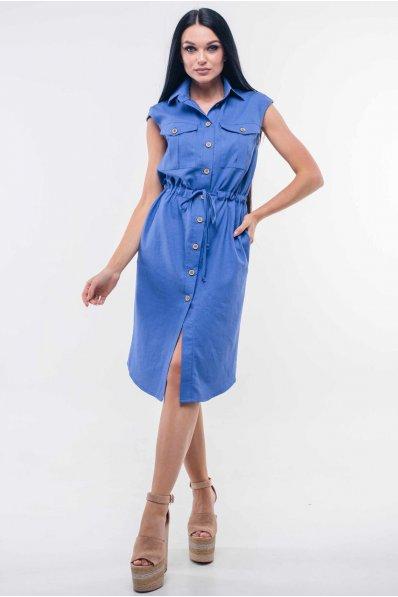 Платье в стиле «сафари» синего оттенка с классическим воротником