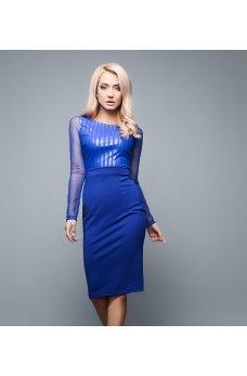 Платье электрик со вставками из экокожи