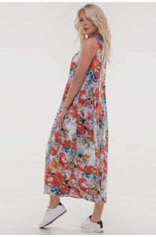 Літнє плаття балахон з мозаїчним принтом