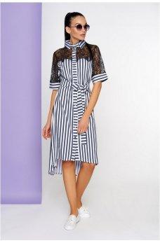 Полосатое сине-белое платье с гипюровое спинкой