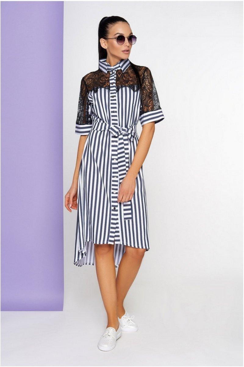 d02b820c354f90 Смугасте синьо-біле плаття з гипюровою спинкою