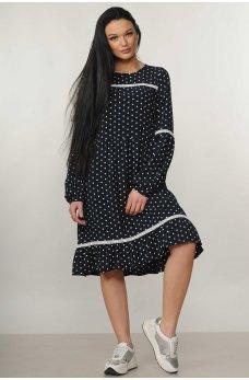 Романтическое свободное платье черного цвета в горошек