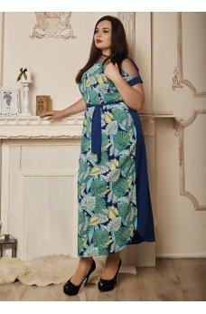 Летнее  платье синего цвета с зелеными пальмовыми листочками