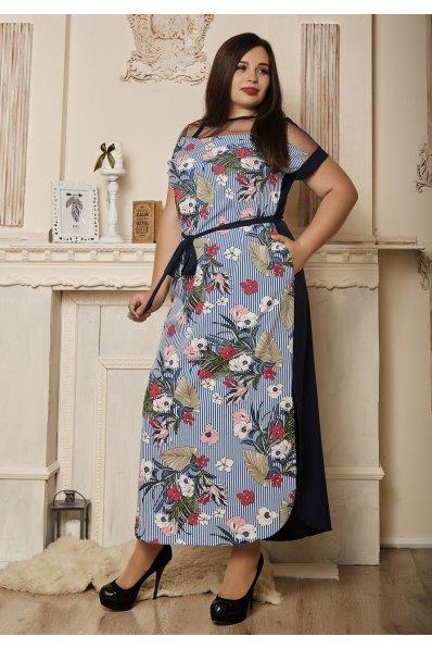Летнее  платье сине-белого оттенка в полосочку