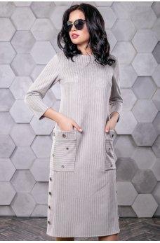 Серое замшевое платье с накладными карманами