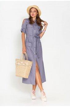 Синее льняное платье-рубашка прямого кроя длинной в пол