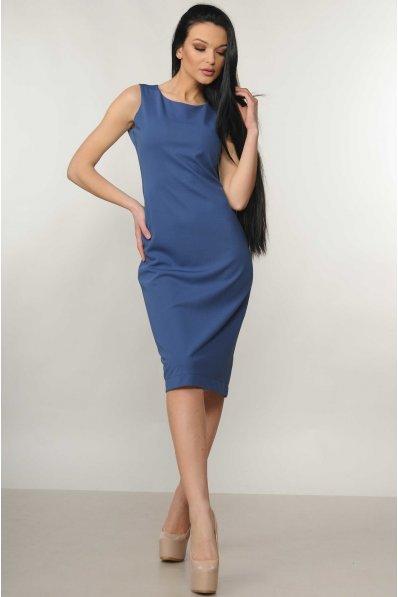 Синее платье длиной миди с разрезом сзади