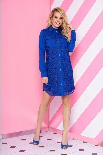 Синее платье рубашка с гипюром