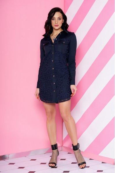 Темно-синее платье рубашка с гипюром