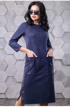 Стильное темно-синее замшевое платье с накладными карманами