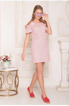 Хлопковое платье с открытыми плечами персикового цвета