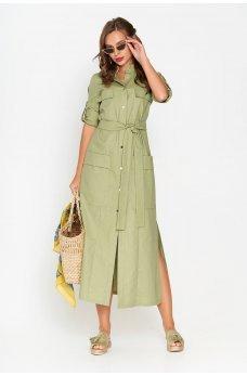 Зеленое льняное платье-рубашка прямого кроя длинной в пол