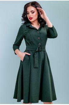 Зеленое платье миди с расклешенной юбкой
