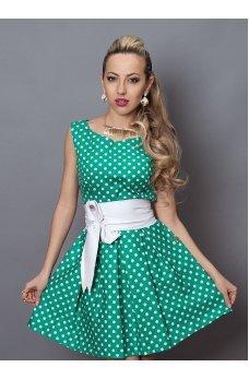 Зелене плаття в білий горошок