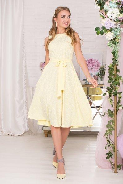 Желтое платье-миди с поясом