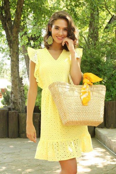 Желтое платье из прошвы