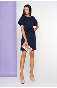 Женственное платье темно-синего цвета