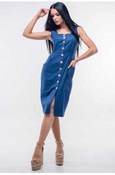Женственный льняной сарафан синего оттенка