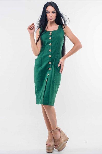 Женственный льняной сарафан зеленого оттенка