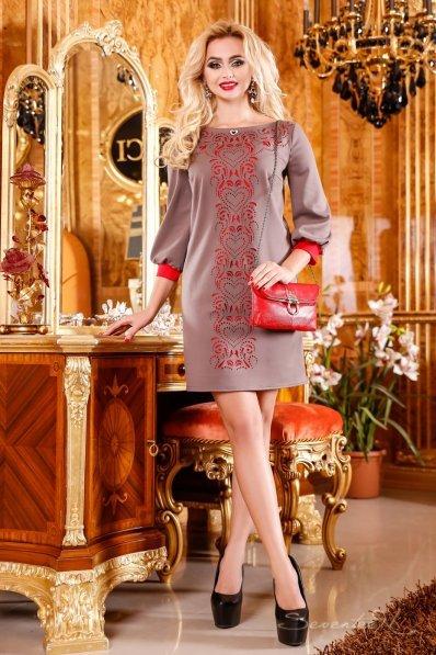 Обворожительное кофейное платье туника