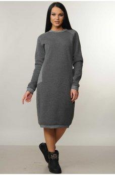 Очень теплое свободное серое платье