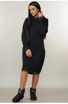 Очень теплое свободное темно-синее платье