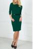 Офисное темно-зеленое платье с пояском