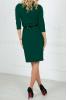 Офисное темно-зеленое платье с пояском - фото 2